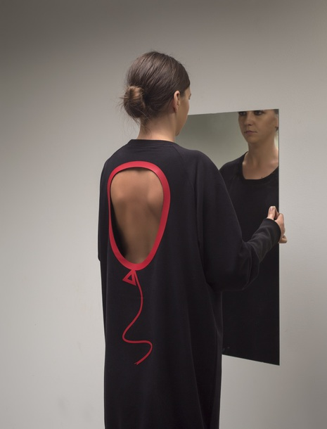 dress wholly_wear red black dress sweatshirt