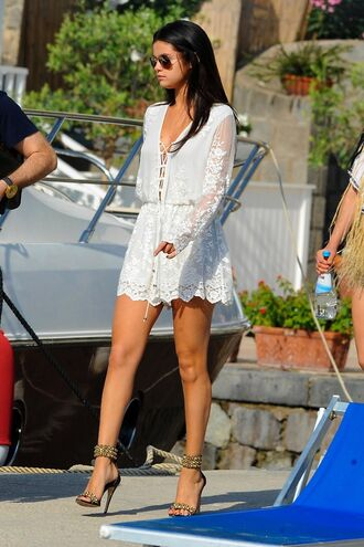 lace dress shoes romper summer romper white floral short dress flowers dress white lace playsuit jumpsuit white selena gomez selena gonez