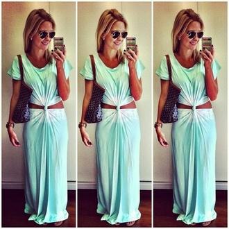dress maxi dress cut-out dress cut-out summer summer dress aviator sunglasses sunglasses maxi bag front knot ombre mint dress tye dye dress trendy