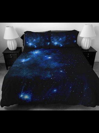 home accessory galaxy bed cover bedding galaxy print blue