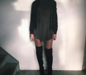 dress,wolfiecindy,tee shirt dresses,t-shirt,grey,black,boots,black boots,black suede thigh high boots,suede boots,instagram,instagram dress,vest,tumblr,tumblr outfit,celebrity style,teenagers,streetwear,day out,city outfits,winter outfits,casual,casual t-shirts,casual dress,shoes,knee high boots,coat,winter coat