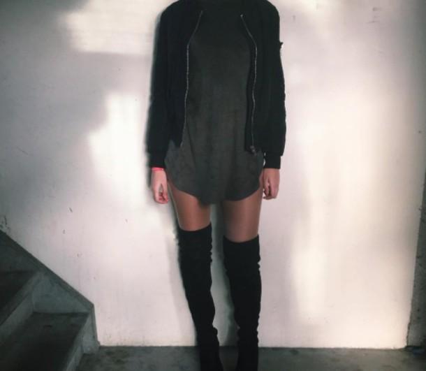 c2d44588c9a0d dress wolfiecindy tee shirt dresses t-shirt grey black boots black boots  black suede thigh