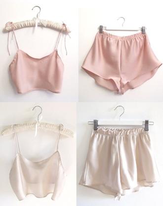pajamas silk pale pnk coral white shiny shiney tank top shorts aesthetic