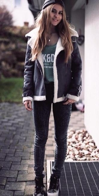 jacket black leather jacket coat white fur warm