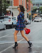 bag,handbag,red bag,high heels boots,mini dress,long sleeve dress,checkered,wrap dress,sunglasses
