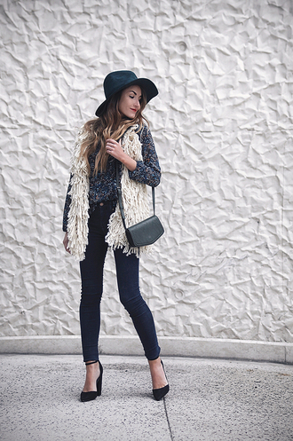 heels on gasoline blogger cardigan ankle strap heels vest floppy hat felt hat mini bag mini shoulder bag