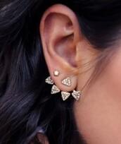 jewels,earrings,ear piercings,statement earrings,jewelry,diamonds,gold,gold jewelry,triangle,ear jacket,ear jackets,ear jacket earrings,bling