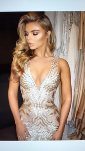 dress,nude,white,gold dress,evening dress,formal dress,cocktail dress