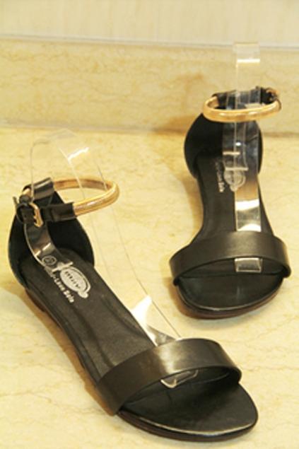 Gold-tone Ankle Strap Sandals - OASAP.com