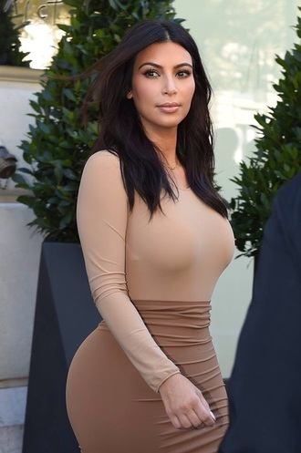 blouse top sleeves nude kim kardashian hot perfect style dress nude skirt skirt shirt all nude everything