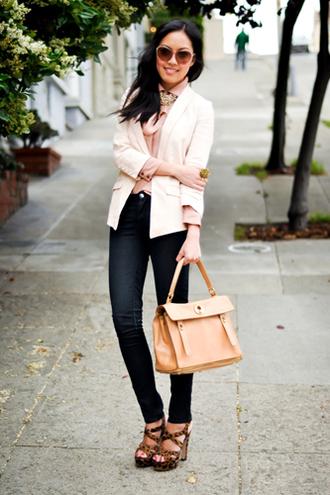 jacket pastel skiny jeans pink jacket