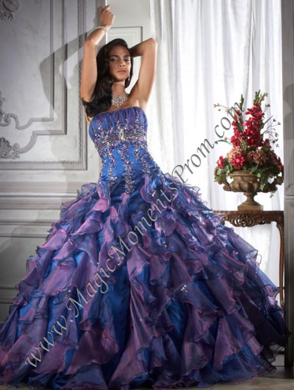 Dress Purple Dress Blue Dress Purple Blue Ruffle