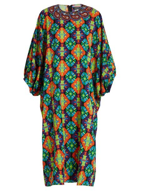 dress geometric print silk green