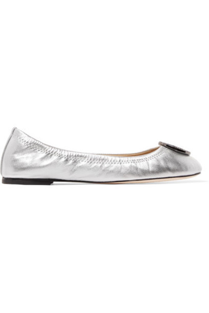 metallic ballet embellished flats ballet flats silver leather shoes