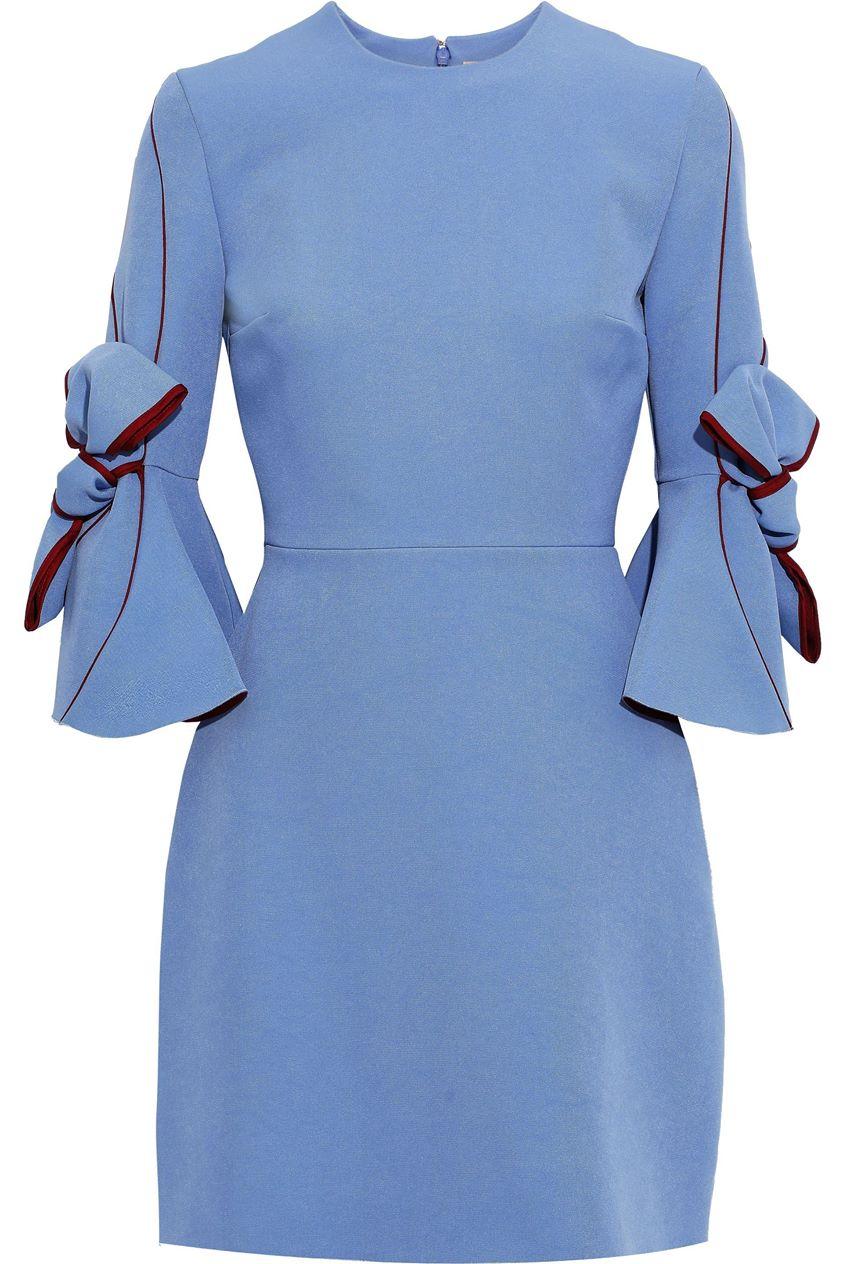 Roksanda Woman Harlin Bow-detailed Crepe Mini Dress Light Blue Size 8