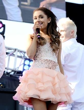 dress ariana grande pink sequins peach party dress peach dress