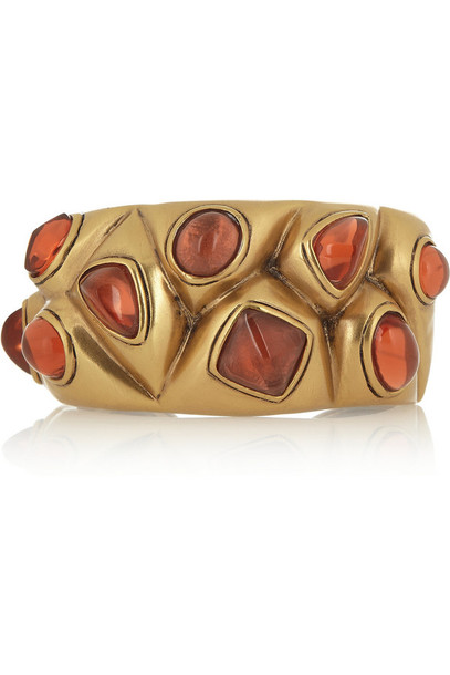 jewels gold-plated cabochon cuff gold cuff cabochon oscar de la renta
