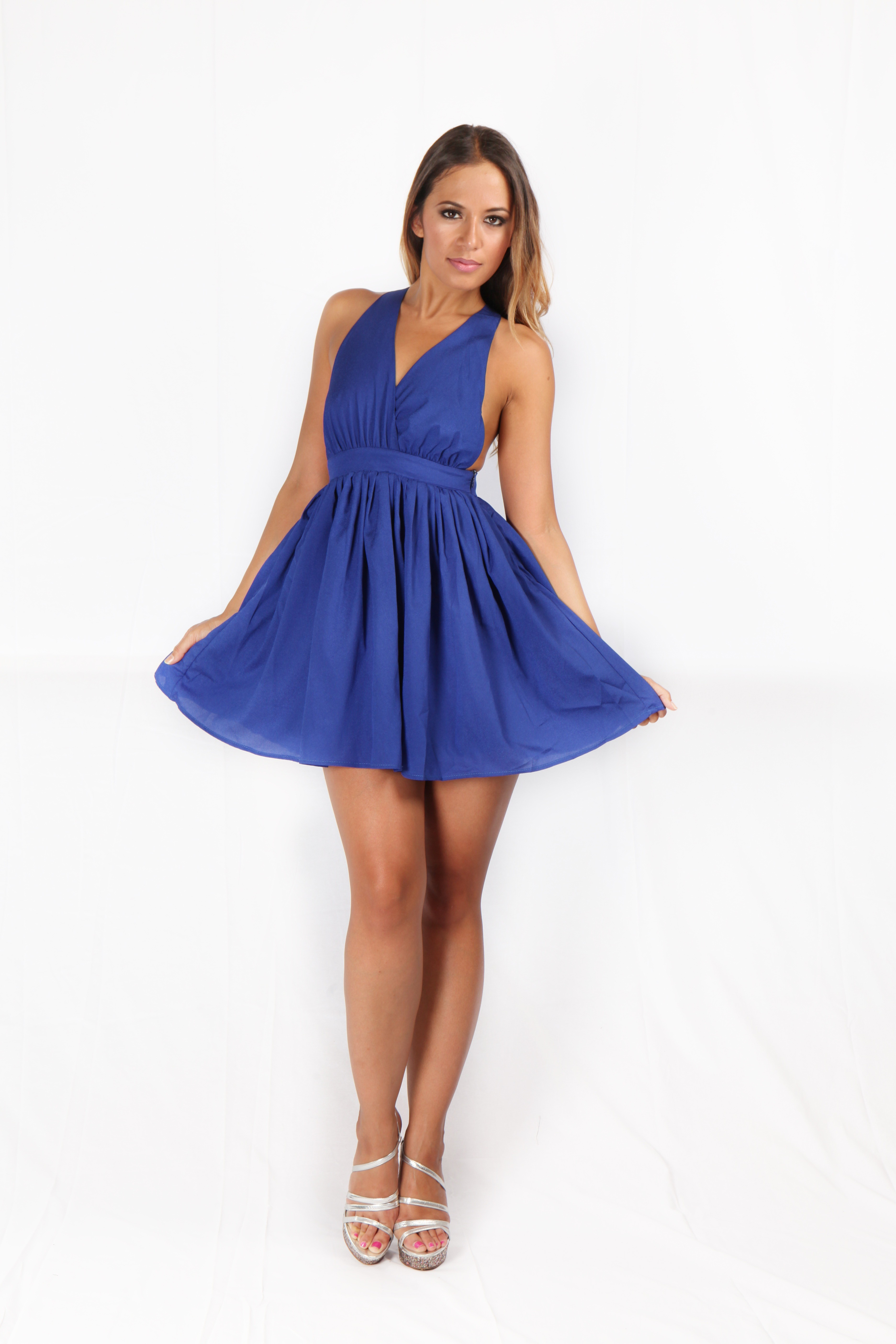 Blue Backless V Neck Skater Dress with Backless Cross Back