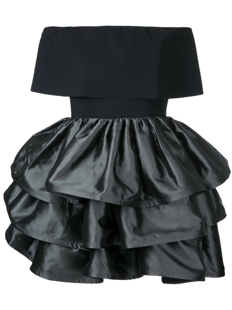 Greta Constantine dress ruffle women spandex black silk wool