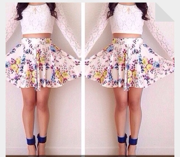 skirt floral lace