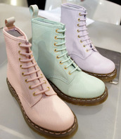 pink shoes,green shoes,purple shoes,shoes,boots,pastel,pink,green,purple,lilac,pastel pink,pastel green,pastel purple,DrMartens,dr marten boots,light blue,violet,combat boots,the purple ones,colorful,white,pastel goth,tumblr,hipster,doc marten style,grunge,doc martens for a good  price,pastel shoes,mint,baby pink,kawaii shoes,kawaii grunge,cute,pastel grunge,tumblr fashion,tumblr girl,cardigan,shorts,it girl shop,lavender,fashion,aesthetic