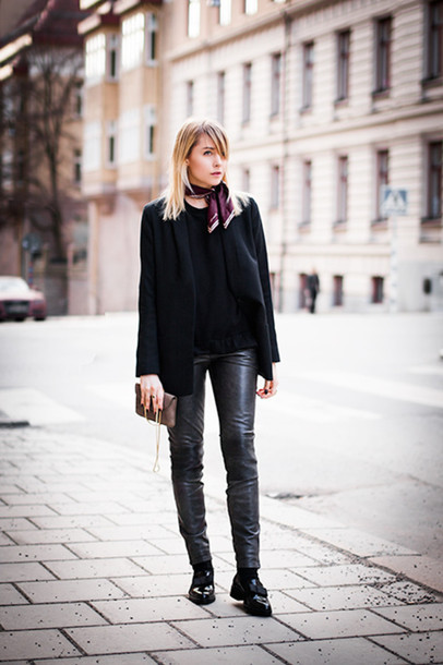 chaloth blogger jacket scarf sweater pants shoes bag