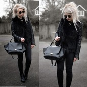 sammi jackson,blogger,black bag,all black everything,sunglasses,jacket,bag,jeans,shoes