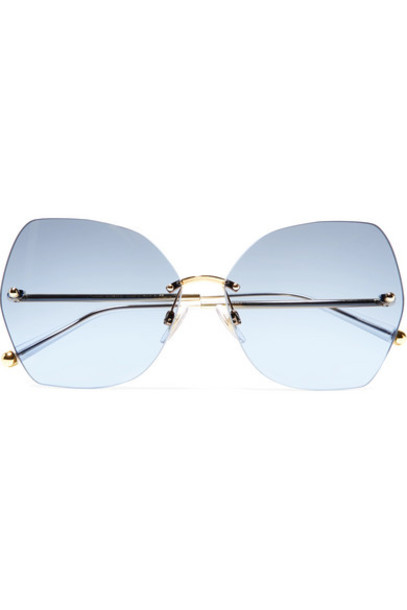 Dolce & Gabbana - Hexagon-frame Gold-tone And Acetate Mirrored Sunglasses - Blue