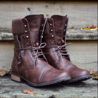 shoes brown combat boots boots leather lace up studs