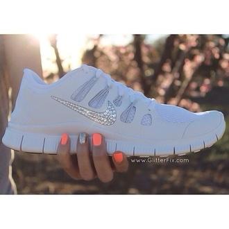 shoes white nike glitter shoes