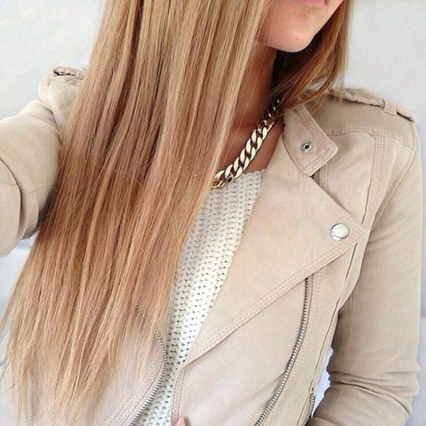 jacket beige cute stylish biker jacket silver pullover gold white beige jacket leather jacket faux leather jacket jewels sweater coat clothes girly cute high heels light brown jacket girl perfecto knitwear top white top jewelry gold necklace winter sweater winter jacket winter outfits gold chain