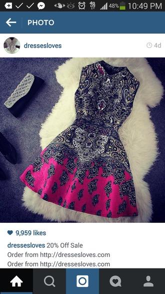 dress patterned dress romantic dress pink and black dress short dress