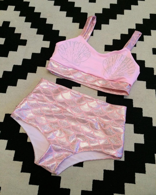 Sirène rose en deux pièces maillot de bain sur mesure