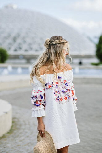 dress off the shoulder off the shoulder dress embroidered embellished dress white dress hair blogger vacation outfits