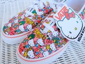 shoes,pink,vans,white,laces,hello kitty,sneakers