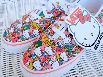 shoes pink vans white laces hello kitty sneakers