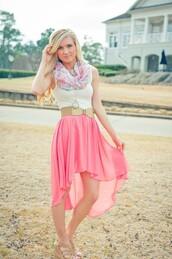 skirt,high low,scarf,belt,dress,summer dress,pink dress,floral scarf,white dress