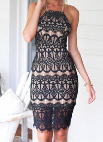 dress elegant fancy black nude lace fashion style party summer classy outfit