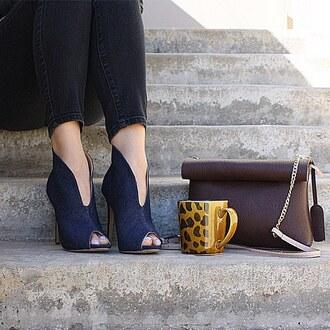 shoes denim chambray heels booties jeans dark blue gojane