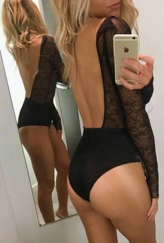 underwear lace black bodysuit leotard lingerie sexy