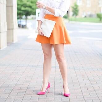 tangerine orange skirt girly classy