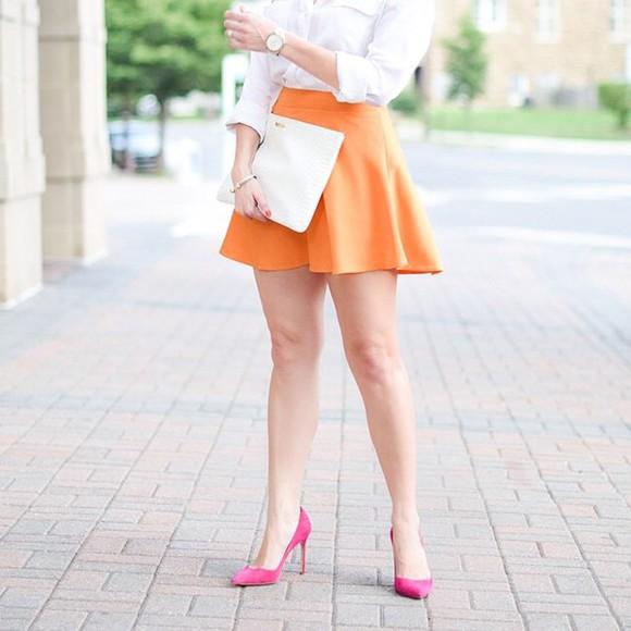 tangerine orange skirt girly chic
