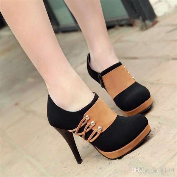 Shoes: heels, black and brown high heels, heels color pumps wedges ...