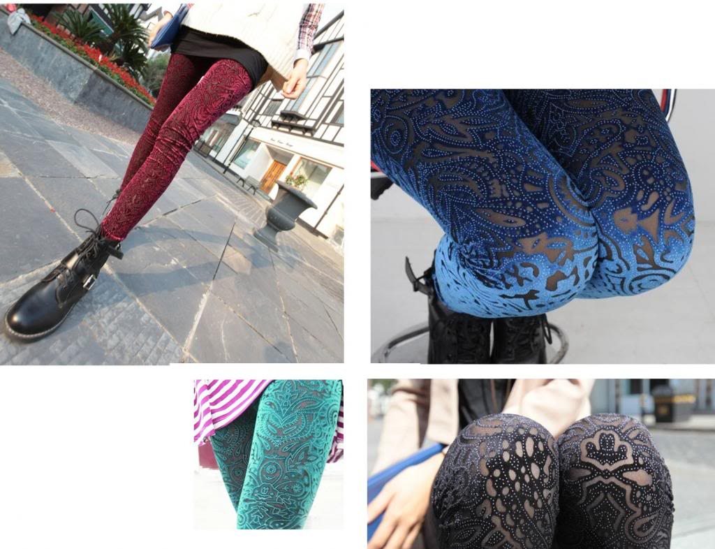 New Velvet 4 Color Laser cut Velvet legging Prints pleuche hollow Leggings | eBay