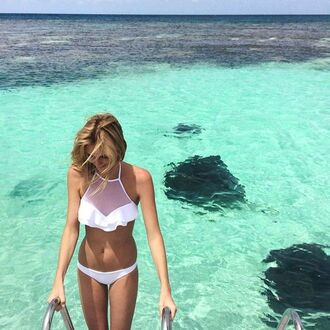 swimwear white beach ruffles mesh