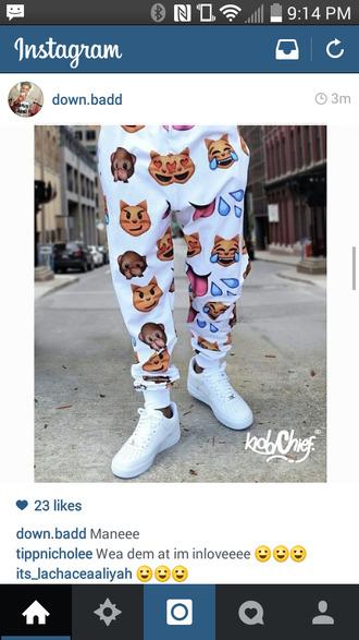 white pants emoji print sweatpants dope shit emoji pants jeans white pants