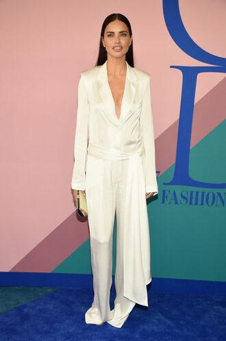 pants adriana lima model white silk cfda