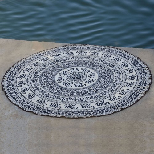 Indian Mandala Roundie Beach Throw Tapestries