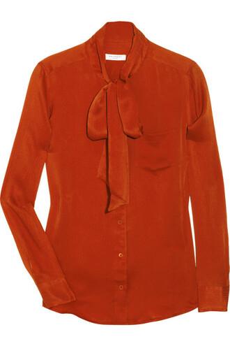 blouse orange blouse velvet silk