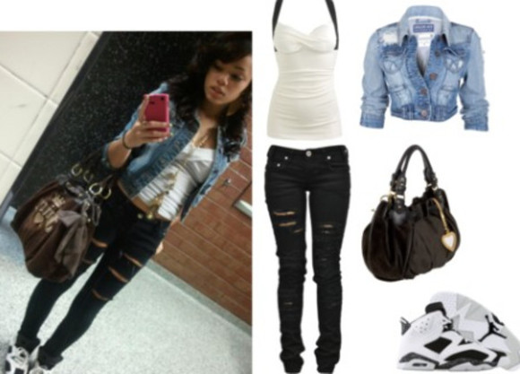 jacket swag girl jeans bag